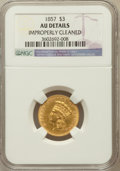 Three Dollar Gold Pieces: , 1857 $3 -- Improperly Cleaned -- NGC Details. AU. NGC Census:(35/482). PCGS Population (47/219). Mintage: 20,891. Numismed...
