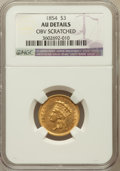 Three Dollar Gold Pieces: , 1854 $3 -- Obverse Scratched -- NGC Details. AU. NGC Census:(185/3167). PCGS Population (334/2151). Mintage: 138,618. Numi...