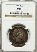Proof Barber Half Dollars: , 1894 50C PR55 NGC. NGC Census: (2/245). PCGS Population (1/296).Mintage: 972. Numismedia Wsl. Price for problem free NGC/P...