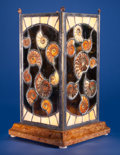 "Lapidary Art:Lamps, UNIQUE ""STAINED GLASS"" LAMP with AUTHENTIC AMMONITE FOSSILS .Cleoniceras sp. . Cretaceous . Madagascar..."