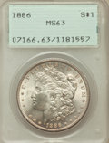 Morgan Dollars: , 1886 $1 MS63 PCGS. PCGS Population (34650/57124). NGC Census:(30502/76084). Mintage: 19,963,886. Numismedia Wsl. Price for...