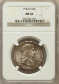 Franklin Half Dollars: , 1953-S 50C MS66 NGC. NGC Census: (527/8). PCGS Population (572/2).Mintage: 4,148,000. Numismedia Wsl. Price for problem fr...