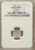 Three Cent Silver, 1852 3CS -- Stained -- NGC Details. UNC. NGC Census: (7/1227). PCGSPopulation (16/1214). Mintage: 18,663,500. Numismed...