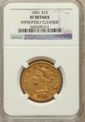 Liberty Eagles, 1855 $10 -- Improperly Cleaned -- NGC Details. XF. NGC Census:(10/463). PCGS Population (18/206). Mintage: 121,701. Nu...