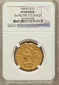 Liberty Eagles, 1849-O $10 -- Improperly Cleaned -- NGC Details. XF. NGC Census:(13/72). PCGS Population (15/43). Mintage: 23,900. Num...