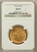 Indian Eagles: , 1914-S $10 AU55 NGC. NGC Census: (128/757). PCGS Population(90/647). Mintage: 208,000. Numismedia Wsl. Price for problem f...