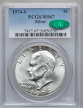 Eisenhower Dollars: , 1974-S $1 Silver MS67 PCGS. CAC. PCGS Population (3964/939). NGCCensus: (1240/146). Mintage: 1,900,156. Numismedia Wsl. Pr...