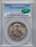 Franklin Half Dollars: , 1948-D 50C MS65 Full Bell Lines PCGS. CAC. PCGS Population(1599/143). NGC Census: (607/61). Numismedia Wsl. Price for pro...