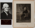 Books:Prints & Leaves, Thomas Jefferson. Engraved Portrait Print. Johnson, Fry, 1862.Measures approx. 10.5 x 8.5 inches. Toning and small stains w...
