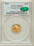 Commemorative Gold, 1922 G$1 Grant No Star MS66+ PCGS. CAC. PCGS Population (406/130).NGC Census: (275/117). Mintage: 5,000. Numismedia Wsl. P...
