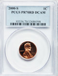 Proof Lincoln Cents, 2000-S 1C PR70 Red Deep Cameo PCGS. PCGS Population (382). NGCCensus: (441). Numismedia Wsl. Price for problem free NGC/P...