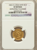 Liberty Quarter Eagles: , 1843-O $2 1/2 Large Date, Plain 4 -- Improperly Cleaned -- NGCDetails. XF. NGC Census: (3/118). PCGS Population (6/5...