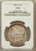 Morgan Dollars: , 1885-CC $1 XF40 NGC. NGC Census: (5/9214). PCGS Population(10/18523). Mintage: 228,000. Numismedia Wsl. Price for problem ...