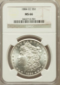 Morgan Dollars: , 1884-CC $1 MS66 NGC. NGC Census: (927/104). PCGS Population(1456/75). Mintage: 1,136,000. Numismedia Wsl. Price for proble...
