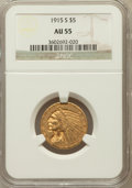 Indian Half Eagles: , 1915-S $5 AU55 NGC. NGC Census: (263/705). PCGS Population(106/394). Mintage: 164,000. Numismedia Wsl. Price for problem f...