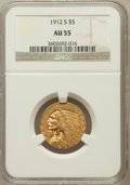 Indian Half Eagles: , 1912-S $5 AU55 NGC. NGC Census: (354/803). PCGS Population(158/324). Mintage: 392,000. Numismedia Wsl. Price for problem f...