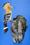Lapidary Art:Carvings, HOOPOE IN OBSIDIAN ON QUARTZ AND DIOPSIDE BASE. Artist: Peter Müller. Stone Source: Brazil. ...