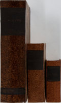 """Books:Prints & Leaves, [Book Objects]. Group of Three Boxes in the Style of Books. Rangefrom approx. 5"""" to 11"""". Decorative boards. Mild rubbing, e...(Total: 3 Items)"""