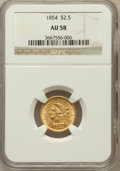 Liberty Quarter Eagles: , 1854 $2 1/2 AU58 NGC. NGC Census: (222/347). PCGS Population(61/145). Mintage: 596,258. Numismedia Wsl. Price for problem ...