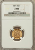 Liberty Quarter Eagles: , 1893 $2 1/2 AU58 NGC. NGC Census: (66/757). PCGS Population(90/630). Mintage: 30,000. Numismedia Wsl. Price for problem fr...