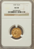 Indian Quarter Eagles: , 1929 $2 1/2 AU58 NGC. NGC Census: (418/18590). PCGS Population(801/11736). Mintage: 532,000. Numismedia Wsl. Price for pro...