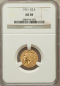 Indian Quarter Eagles: , 1911 $2 1/2 AU58 NGC. NGC Census: (1715/9877). PCGS Population(1077/4566). Mintage: 704,000. Numismedia Wsl. Price for pro...