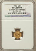 Gold Dollars, 1853 G$1 -- Improperly Cleaned -- NGC Details. UNC. NGC Census:(240/7906). PCGS Population (160/3613). Mintage: 4,07...
