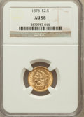 Liberty Quarter Eagles: , 1878 $2 1/2 AU58 NGC. NGC Census: (473/1599). PCGS Population(274/1000). Mintage: 286,260. Numismedia Wsl. Price for probl...