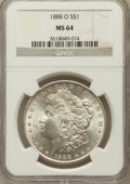 Morgan Dollars: , 1888-O $1 MS64 NGC. NGC Census: (9158/1371). PCGS Population(6943/1983). Mintage: 12,150,000. Numismedia Wsl. Price for pr...
