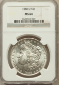 Morgan Dollars: , 1888-O $1 MS64 NGC. NGC Census: (9171/1375). PCGS Population(6951/1985). Mintage: 12,150,000. Numismedia Wsl. Price for pr...