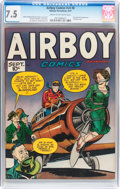 Golden Age (1938-1955):War, Airboy Comics V4#8 (Hillman Fall, 1947) CGC VF- 7.5 Cream tooff-white pages....