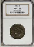 1826 1C MS63 Brown NGC. NGC Census: (21/20). PCGS Population (10/12). Mintage: 1,517,425. Numismedia Wsl. Price: $1,250...