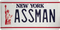 "Movie/TV Memorabilia:Props, Prop ASSMAN Vanity Plate from ""Seinfeld."" In ""The Fusilli Jerry,""one of the most memorable episodes of the sitcom Seinfel...(Total: 1 Item)"