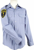 "Movie/TV Memorabilia:Costumes, ""Hill Street Blues"" Costume. A powder blue short-sleeve uniformshirt featuring a patch at right arm that reads, ""Hill St. P...(Total: 1 Item)"