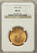 Indian Eagles: , 1912 $10 MS63 NGC. NGC Census: (948/448). PCGS Population(918/281). Mintage: 405,083. Numismedia Wsl. Price for problemfr...
