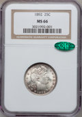 Barber Quarters, 1892 25C MS66 NGC. CAC....
