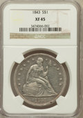 Seated Dollars: , 1843 $1 XF45 NGC. NGC Census: (66/265). PCGS Population (108/239).Mintage: 165,100. Numismedia Wsl. Price for problem free...