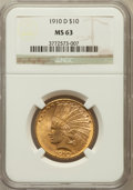 Indian Eagles: , 1910-D $10 MS63 NGC. NGC Census: (1973/1087). PCGS Population(2159/768). Mintage: 2,356,640. Numismedia Wsl. Price for pro...