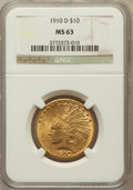 Indian Eagles: , 1910-D $10 MS63 NGC. NGC Census: (1978/1087). PCGS Population(2159/768). Mintage: 2,356,640. Numismedia Wsl. Price for pro...