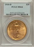 Saint-Gaudens Double Eagles: , 1910-D $20 MS64 PCGS. PCGS Population (1961/1106). NGC Census:(1746/479). Mintage: 429,000. Numismedia Wsl. Price for prob...