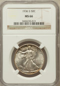 Walking Liberty Half Dollars: , 1936-S 50C MS66 NGC. NGC Census: (148/15). PCGS Population (201/8).Mintage: 3,884,000. Numismedia Wsl. Price for problem f...