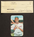 Autographs:Checks, Hank Aaron Signed Check And 1970 Topps Super Card. ...