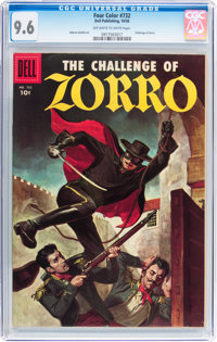 Four Color #732 The Challenge of Zorro (Dell, 1956) CGC NM+ 9.6 Off-white to white pages