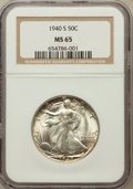Walking Liberty Half Dollars: , 1940-S 50C MS65 NGC. NGC Census: (768/175). PCGS Population(1291/355). Mintage: 4,550,000. Numismedia Wsl. Price for probl...