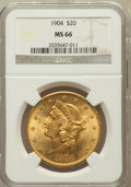 Liberty Double Eagles: , 1904 $20 MS66 NGC. NGC Census: (258/1). PCGS Population (155/2).Mintage: 6,256,797. Numismedia Wsl. Price for problem free...