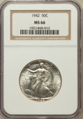 Walking Liberty Half Dollars: , 1942 50C MS66 NGC. NGC Census: (2650/374). PCGS Population(2586/237). Mintage: 47,839,120. Numismedia Wsl. Price for probl...