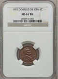 Lincoln Cents, 1955 1C Doubled Die Obverse MS61 Brown NGC. FS-101....