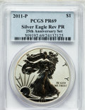 Modern Bullion Coins, 2011-P $1 Silver Eagle, 25th Anniversary Set, Reverse Proof PR69PCGS. PCGS Population (995/740). NGC Census: (1685/2237). ...