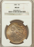 Morgan Dollars: , 1886 $1 MS64 NGC. NGC Census: (49976/26108). PCGS Population(39960/17164). Mintage: 19,963,886. Numismedia Wsl. Price for ...