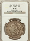Morgan Dollars: , 1884 $1 XF40 NGC. Large Dot Vam-3, Top-100. NGC Census: (23/14772).PCGS Population (16/13907). Mintage: 14,070,875. Numism...